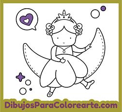 Dibujo Para Colorear Princesa Luna
