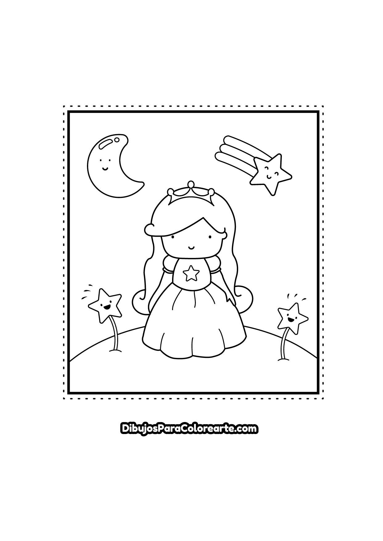 Dibujo Para Colorear De Princesa Estrella