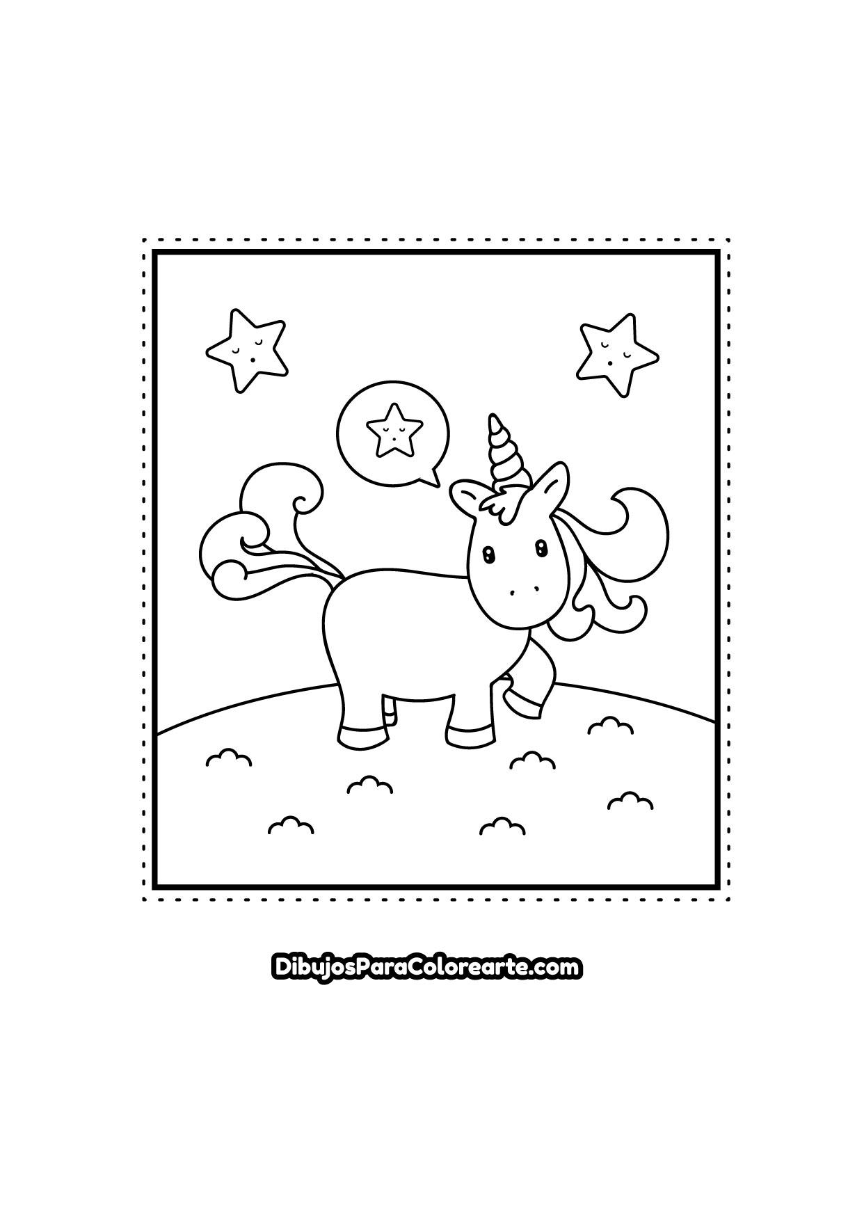 Pintar Dibujo Fácil De Unicornio Kawaii