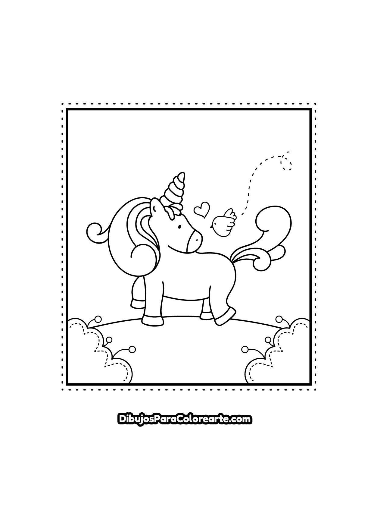Colorear Dibujo De Unicornio Tierno